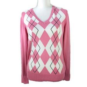 Izod Preppy Pink Argyle V Neck Pull Over Sweater